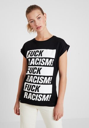 VISBY FUCK RACISM - T-shirt con stampa - black