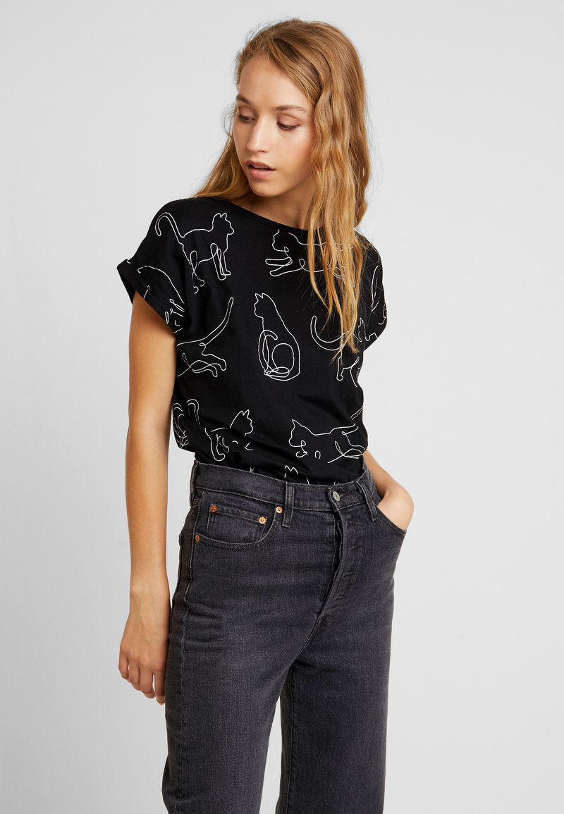 Dedicated - VISBY CAT LINES - T-shirt con stampa - black