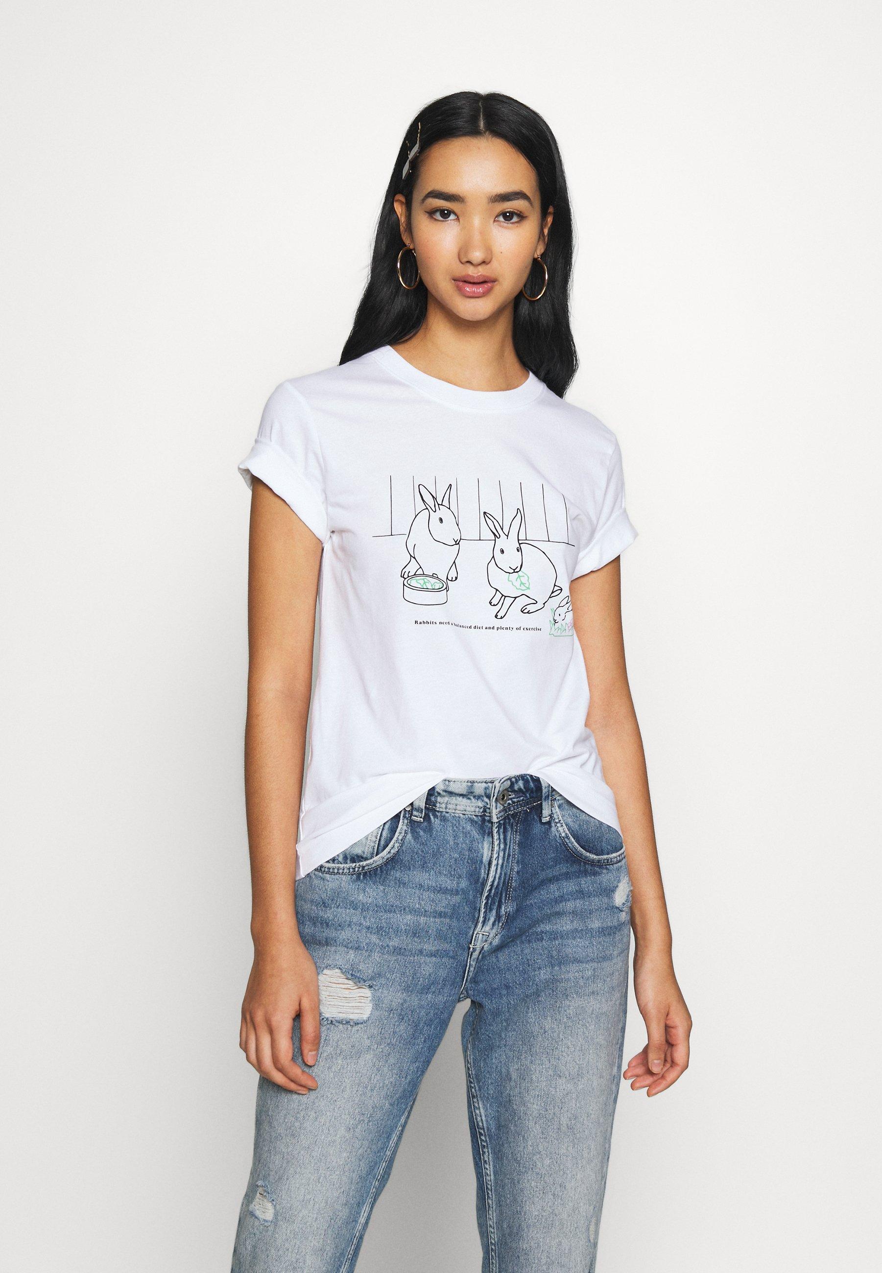 Dedicated MYSEN RABBIT EXERCISE - T-shirts med print - white