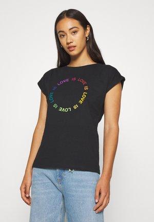 VISBY LOVE CIRCLE - T-shirt print - black