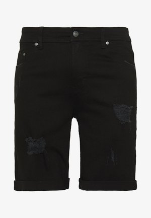 Denim shorts - black destroy