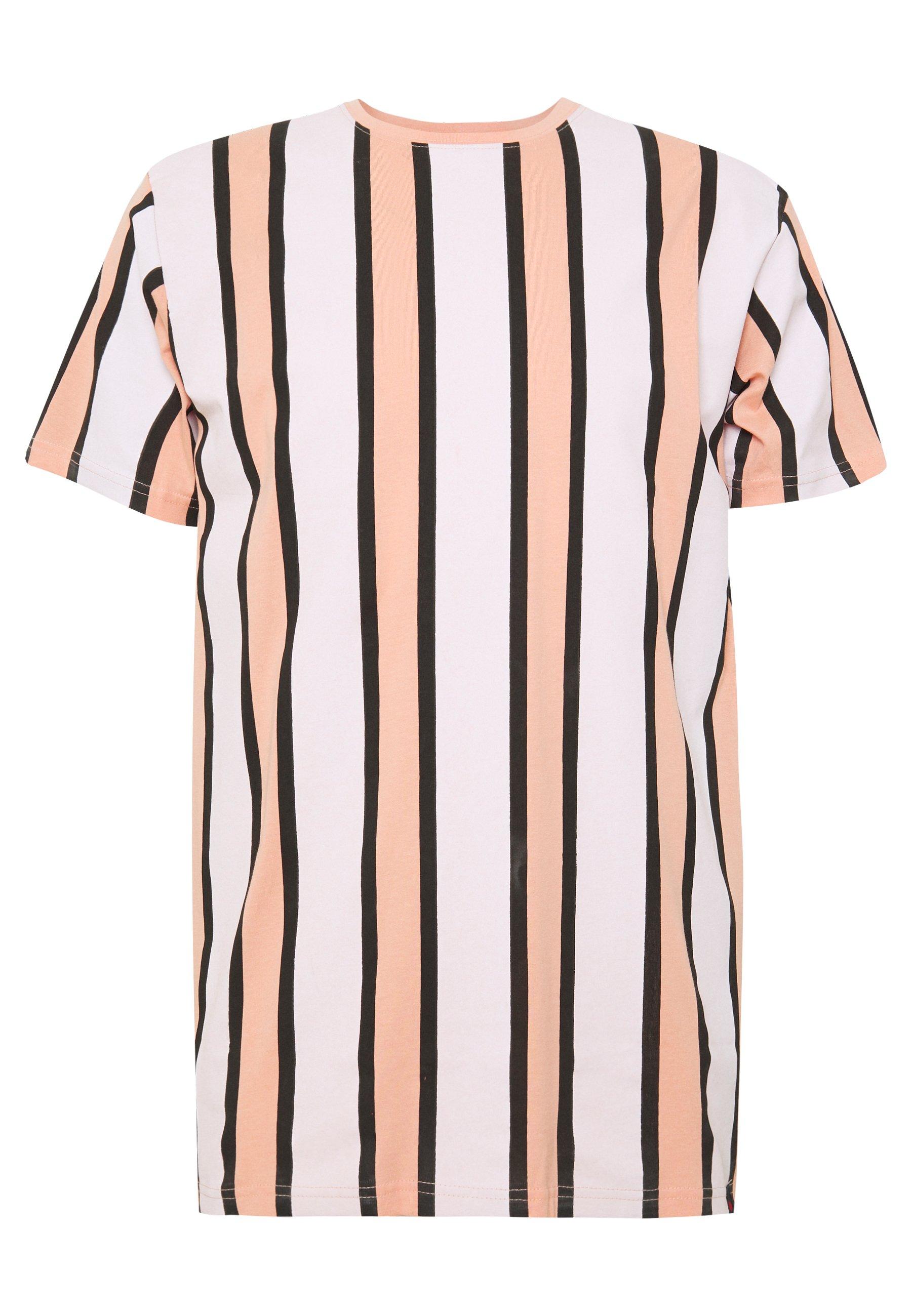 Denim Project RAMIREZ STRIPE TEE - T-shirt z nadrukiem - pink/white