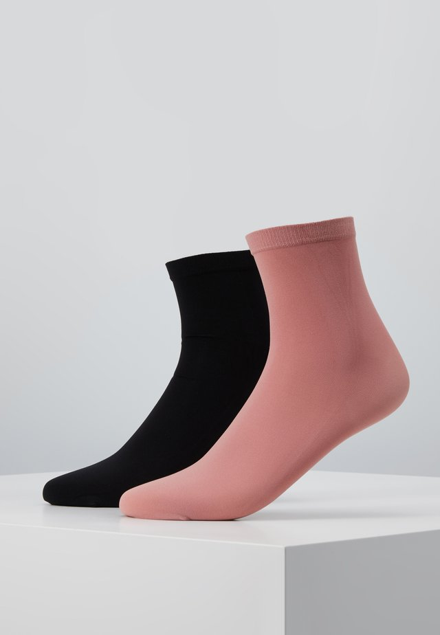 LINE POP SOCKS 2 PACK - Skarpety - black/old rose