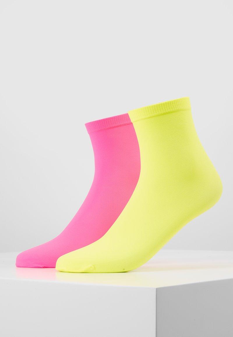 Dear Denier - LINE POP SOCKS 2 PACK - Sokken - neon yellow/neon pink