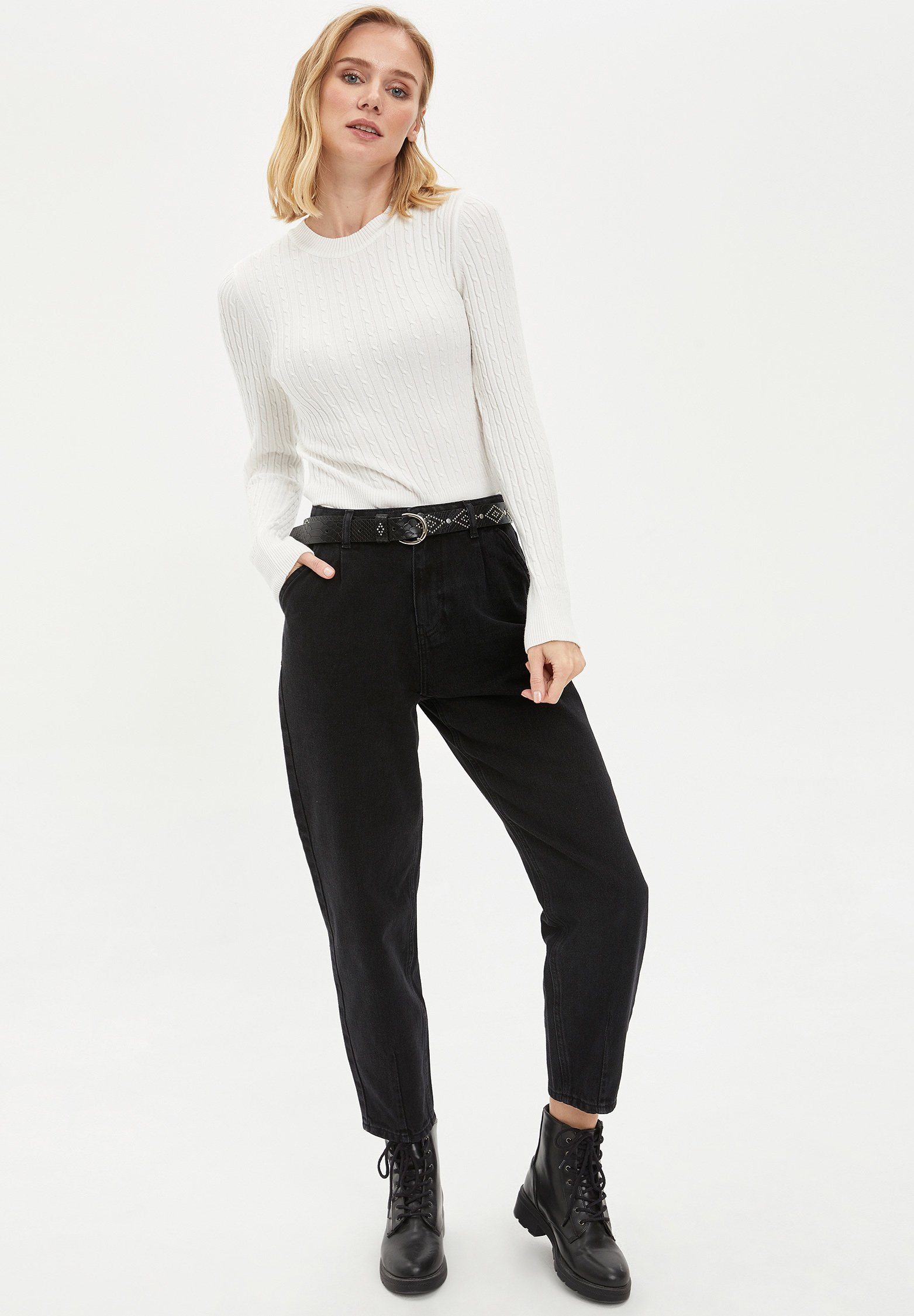 DeFacto Jeansy Straight Leg - black