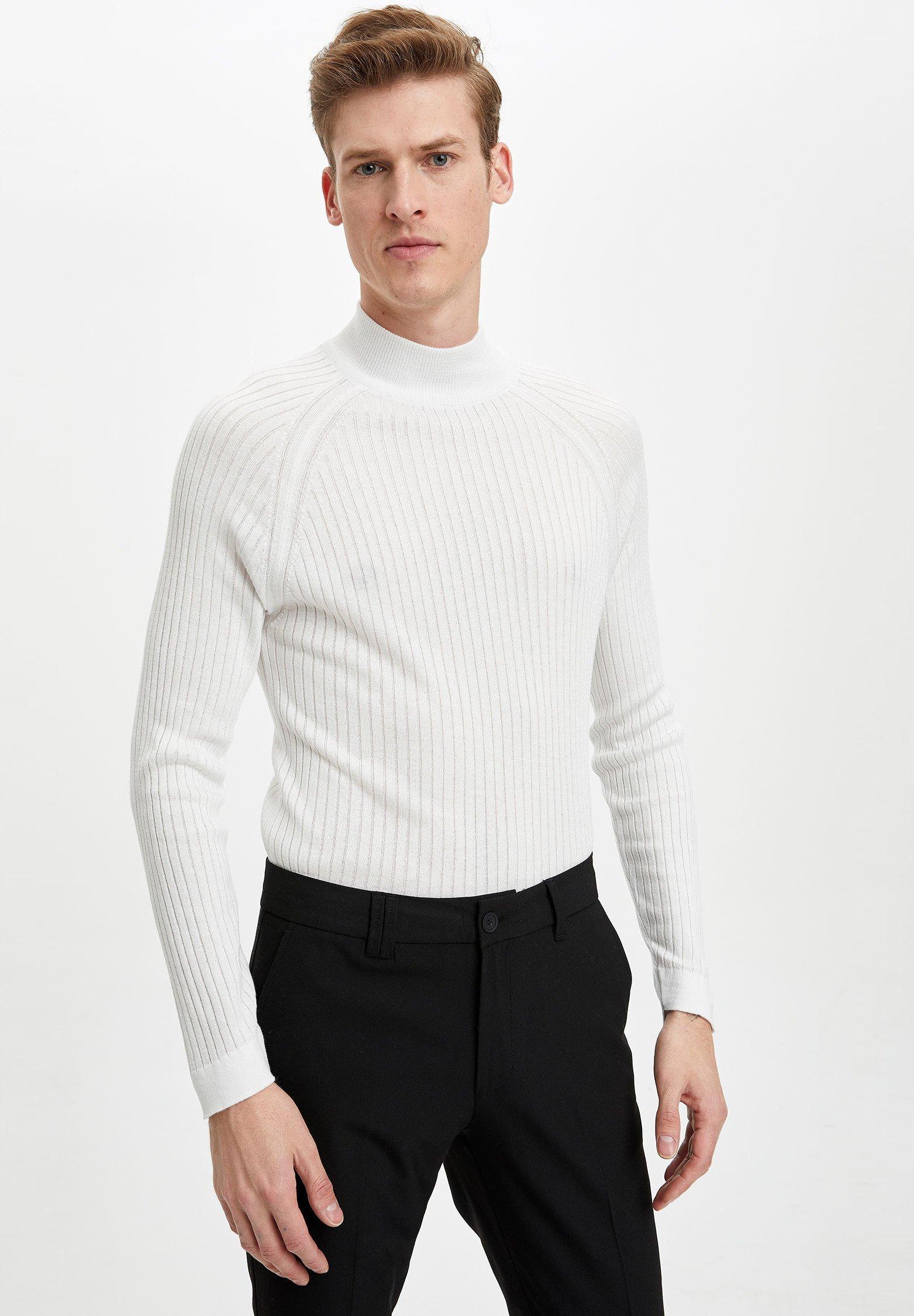 DeFacto Stickad tröja - white - Herrkläder Rabatter