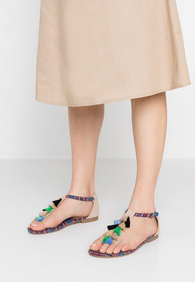 T-bar sandals - beige/bunt