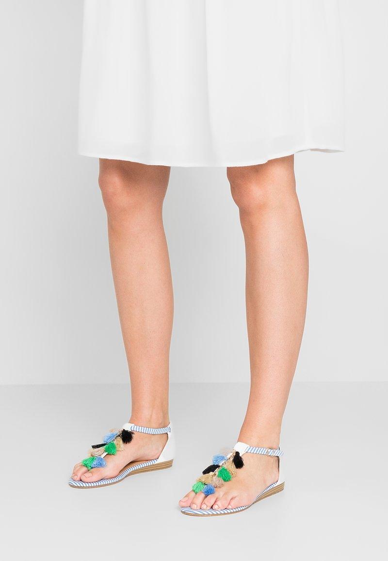 Divine Factory - T-bar sandals - navy/white