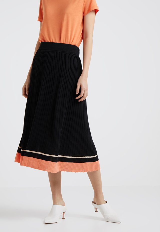 SABINA - A-line skirt - black/peach