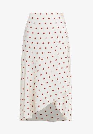 RUBY - Wrap skirt - off white/burgundy