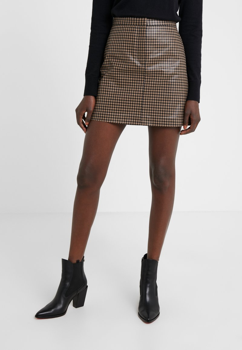 House of Dagmar - BIANCHE CHECK - Mini skirt - camel