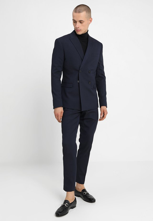 DOUBLE BREASTED PLAIN SLIM FIT SUIT - Dress - navy