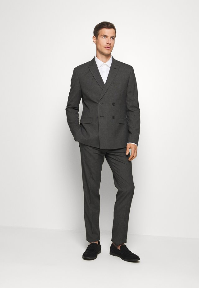 RECYCLED CHECK DOUBLE BREASTED SUIT - Puku - anthracite