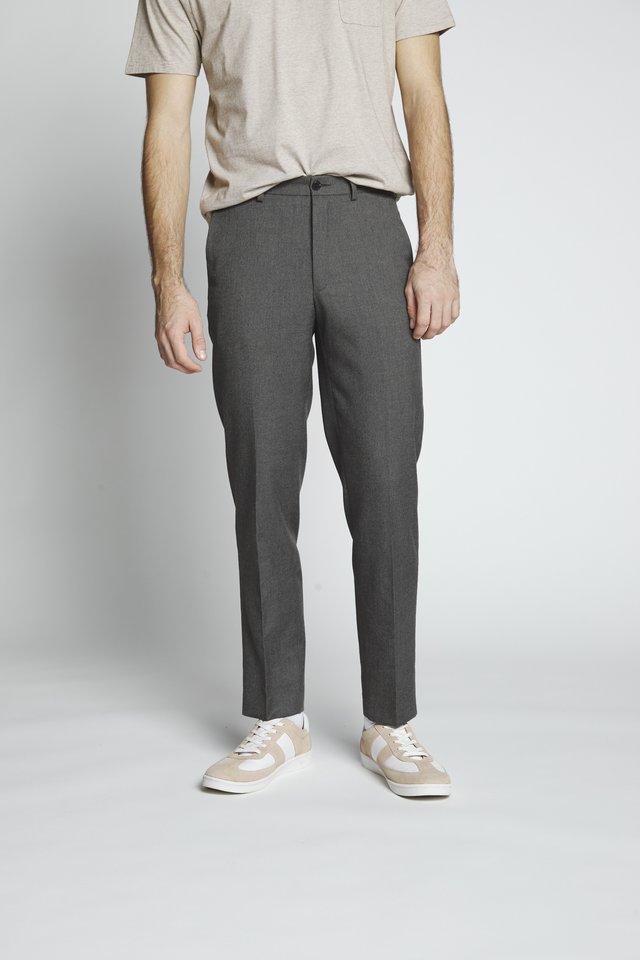 FLANNEL PLAIN TROUSER - Trousers - grey