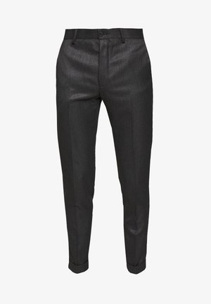 HERRINGBONE TROUSER WITH TURN UP - Broek - grey