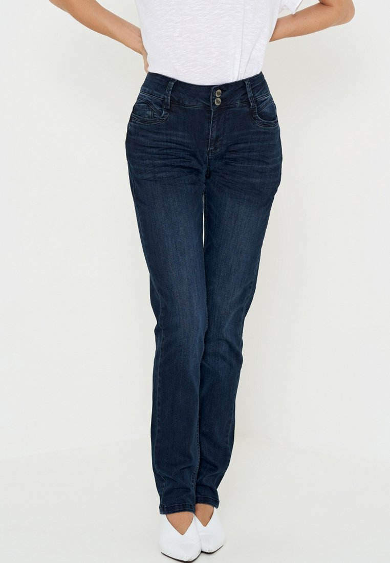 Denim Hunter - REGITZE CURVED - Straight leg jeans - blue-black denim