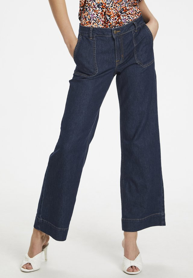 MAY - Flared Jeans - dark blue un-wash