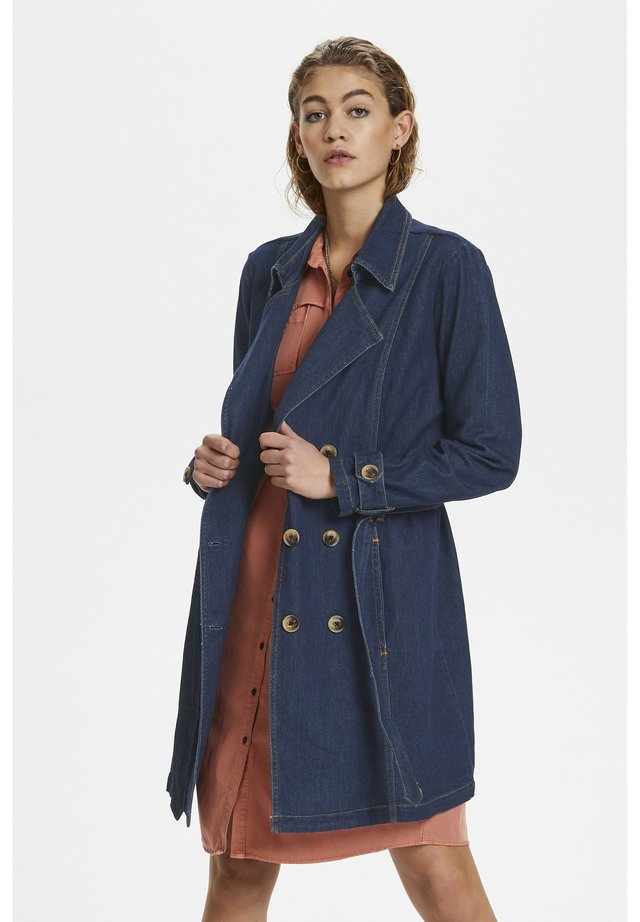 MAY - Trenchcoat - dark blue un-wash