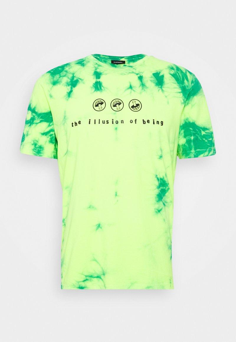 Diesel - T-JUST-SLITS-X86 UNISEX - T-shirts print - green lime tye dyed