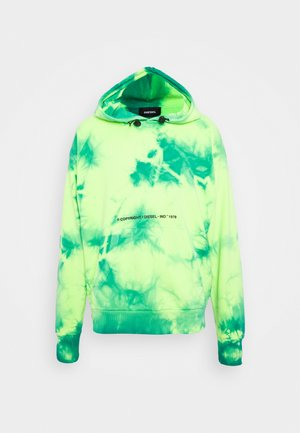 S-ALBYEL-X4 SWEAT-SHIRT UNISEX - Mikina s kapucí - green lime tye dyed