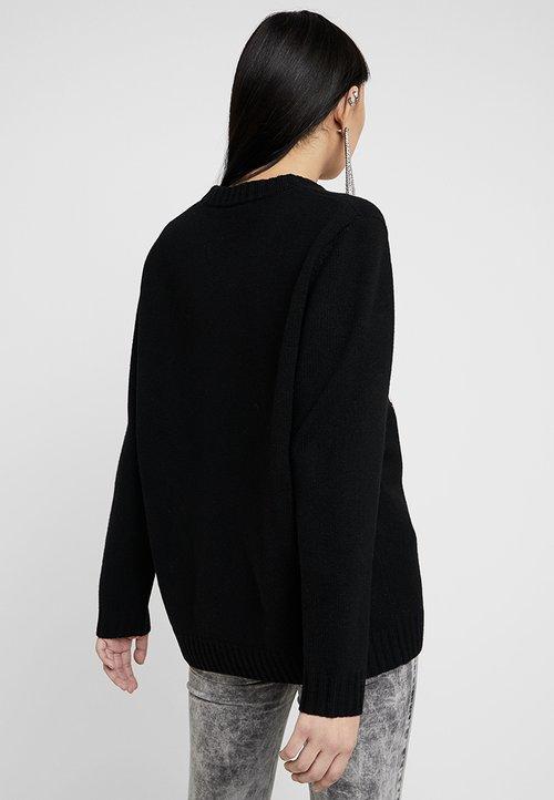 szyk Diesel PATCH - Sweter - black Odzież Damska ENZX-KA7