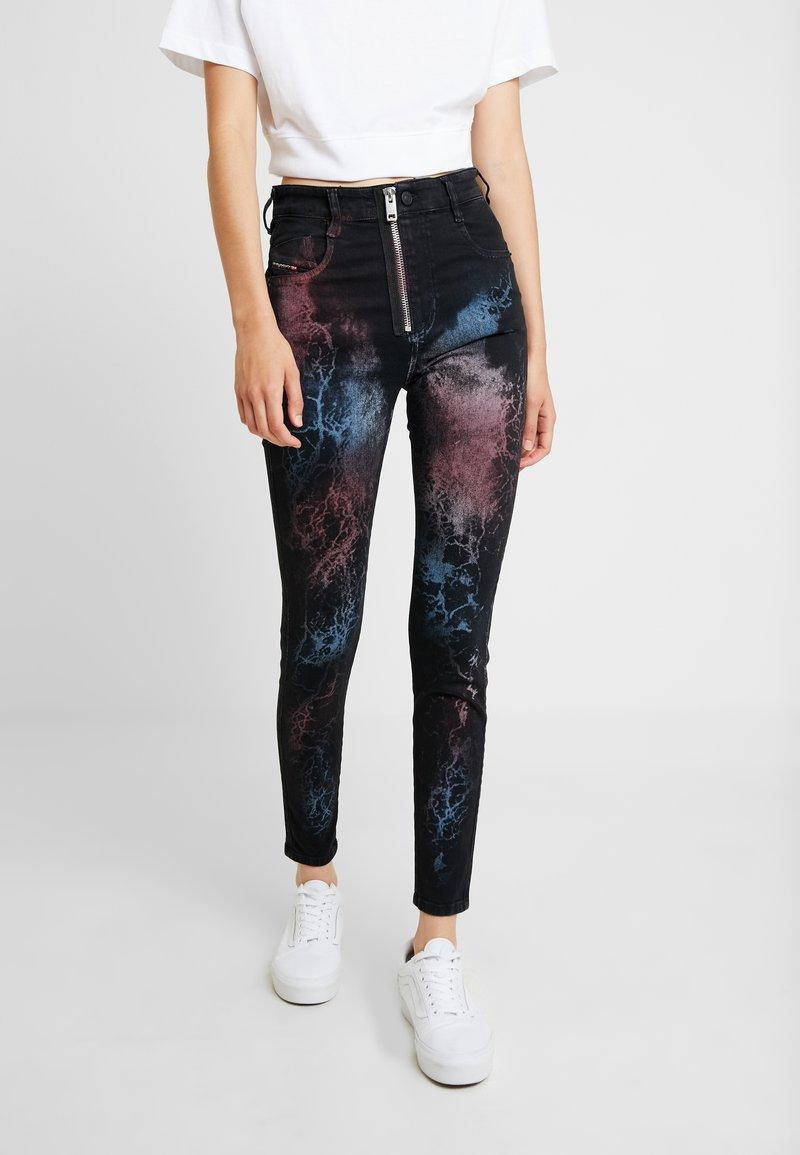 Diesel - SLANDY HIGH - Jeans Skinny Fit - black