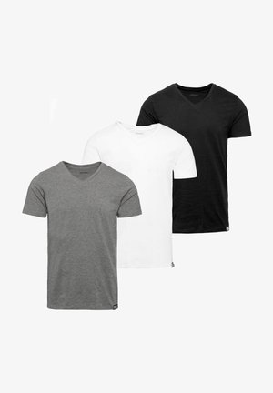 3 PACK - T-shirt basic - black-white-grey