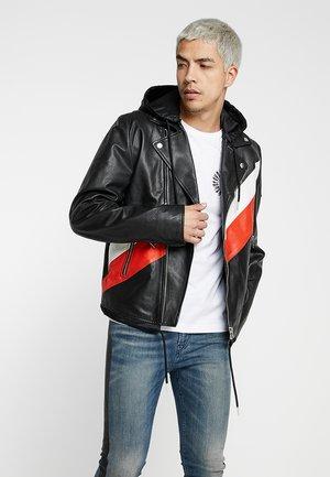 L-SOLOVE JACKET - Veste en cuir - black/red/white
