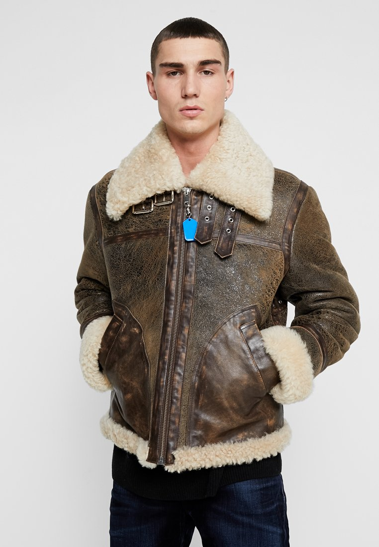Diesel - L-BALASOVI JACKET - Leather jacket - brown
