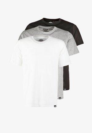 3 PACK - T-shirt basic - schwarz/grau/weiß