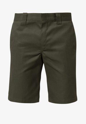 SLIM STRAIGHT WORK - Shorts - olive green
