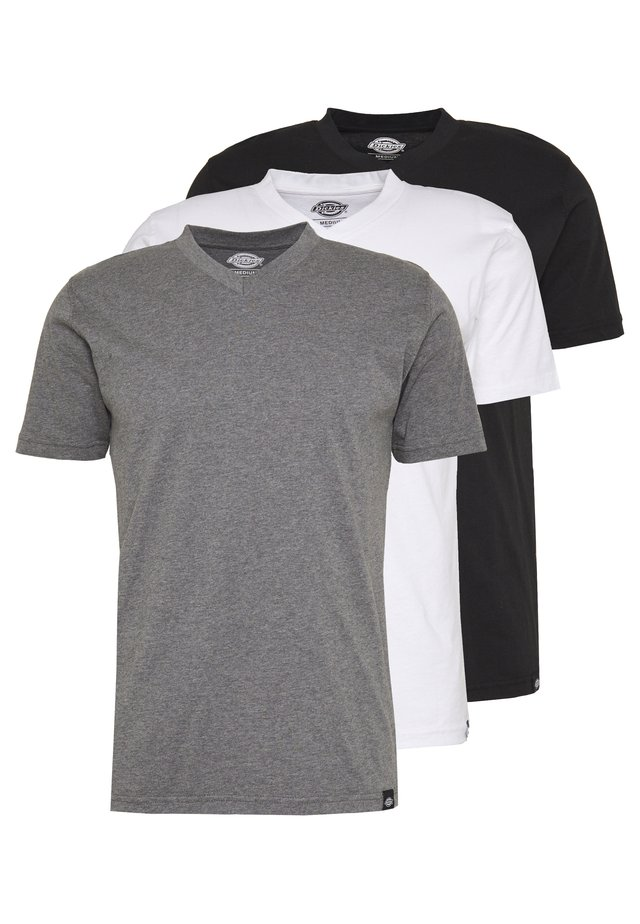 V-NECK PACK 3 - T-paita - black/grey/white