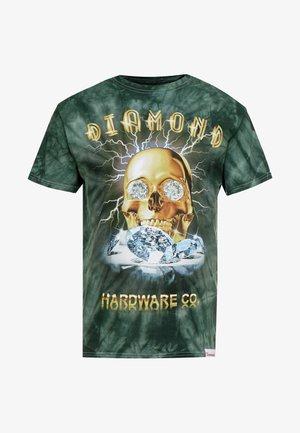 GOLD SKULL TIE DYE - T-shirt z nadrukiem - green
