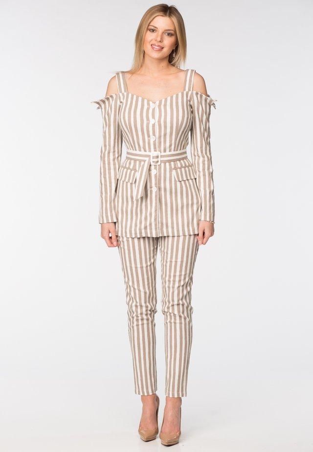 TRISTAN - Trousers - brown & white stripes