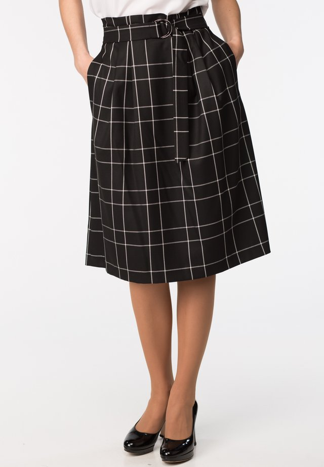 LENA - A-line skirt - black check
