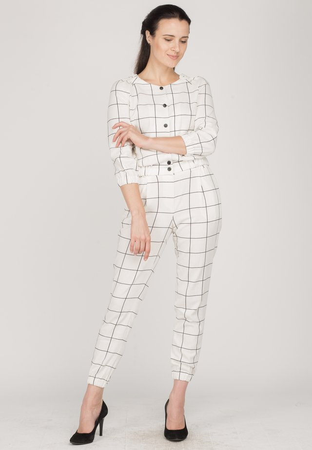 Button-down blouse - white check