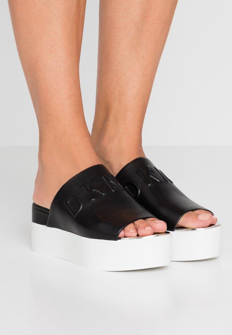 DKNY - COVO PLATFORM SLID - Heeled mules - black