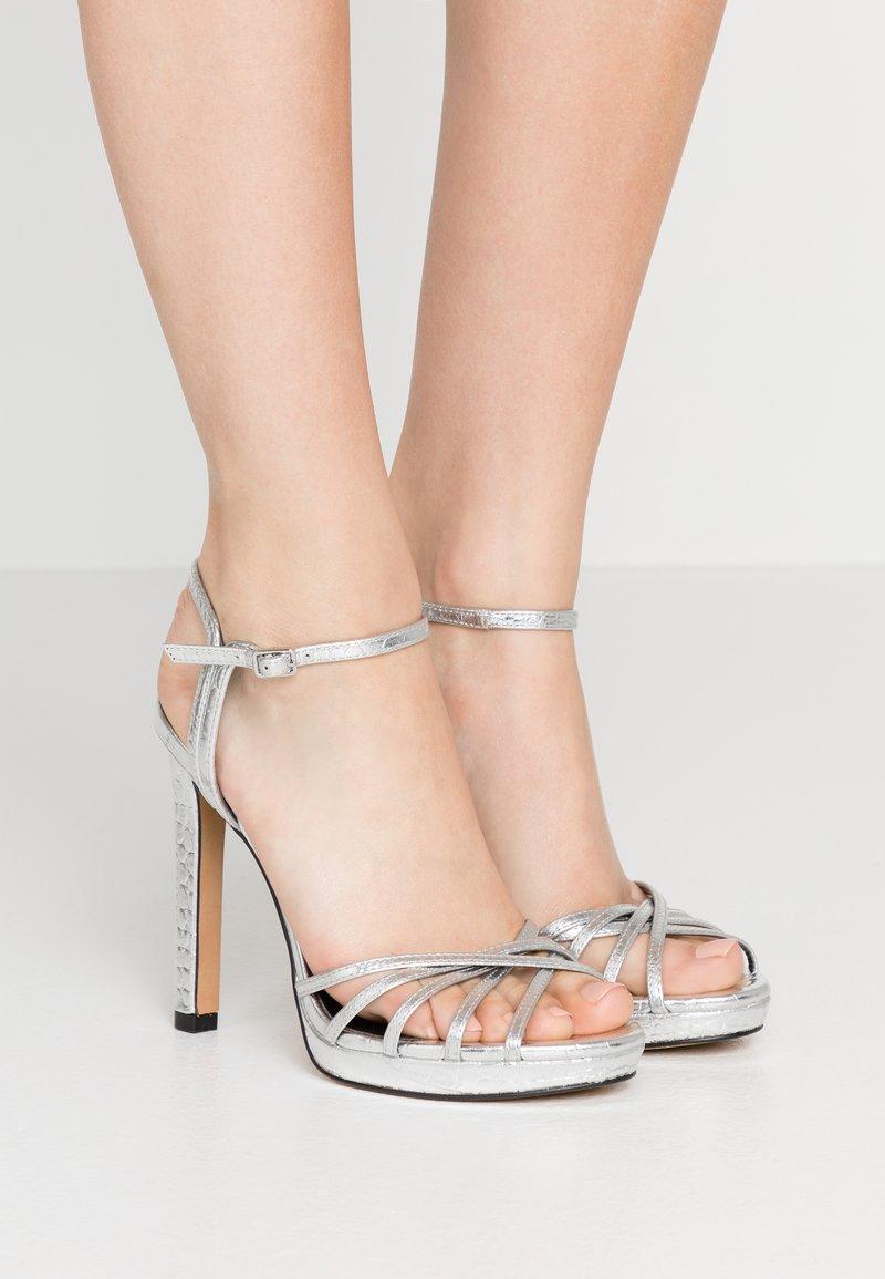 DKNY - LIPA ANKLE STRAP PLATFORM - High heeled sandals - silver
