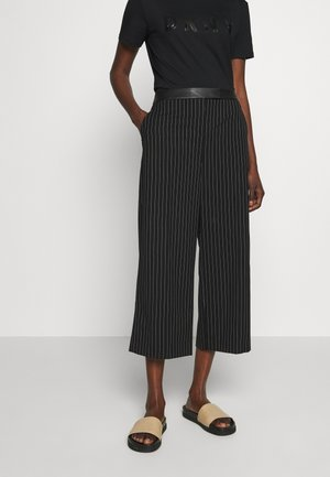 WIDE LEG PANT - Trousers - black/ivory