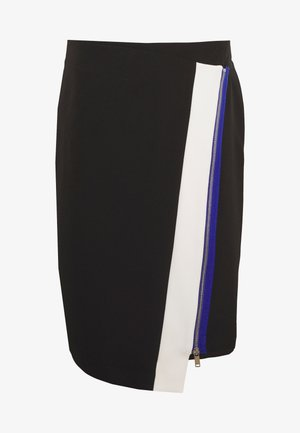COLORBLOCK PENCIL SKIRT ZIP DETAIL - Pouzdrová sukně - black/ivory/electric blue