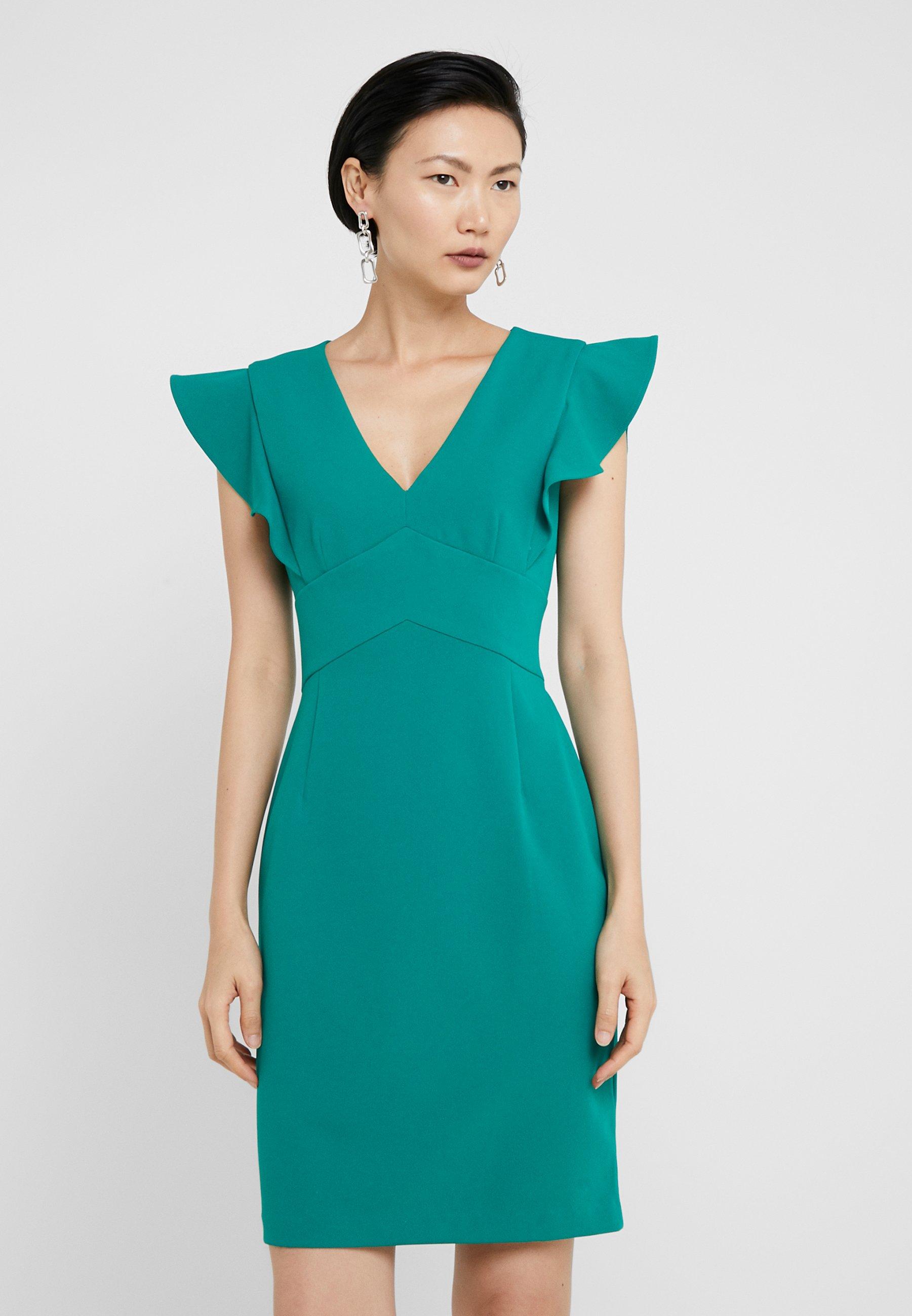 DKNY RUFFLE CAP SLEEVE SHEATH - Sukienka etui - emerald