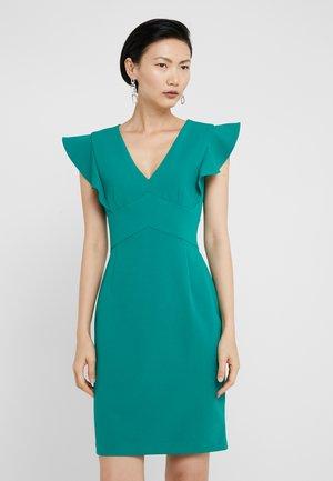 RUFFLE CAP SLEEVE SHEATH - Shift dress - emerald