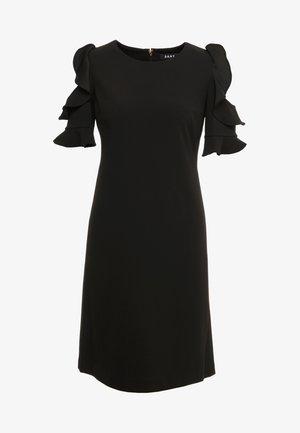 RUFFLE COLD SHOULDER SHIFT - Žerzejové šaty - black