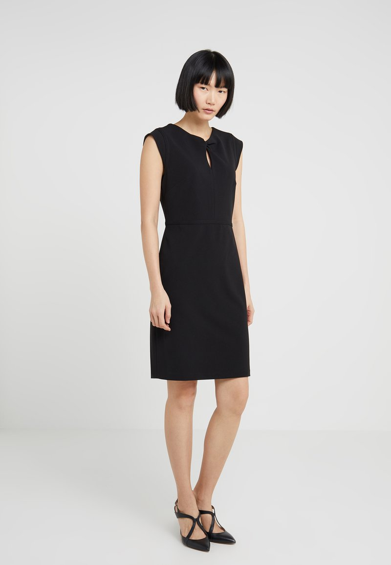 DKNY - CAP SLEEVE SHEATH WITH KEYHOLE AND TRIM - Etuikleid - black