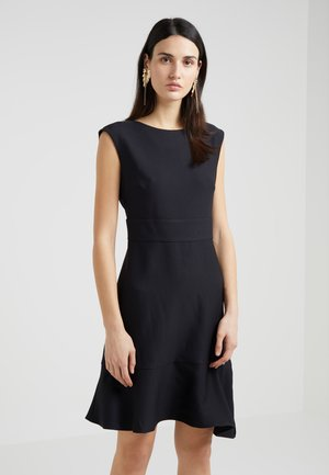 CAP SLEEVE A LINE DRESS WITH TIE BELT - Kjole - black