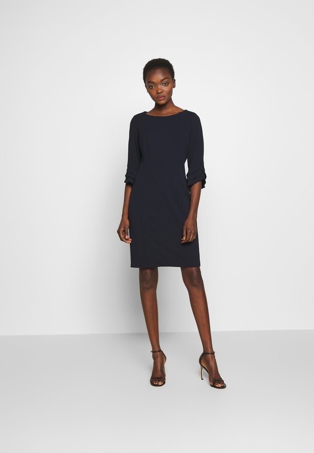 TRIPLE RUFFLE SLEEVE SHEATH - Shift dress - midnight