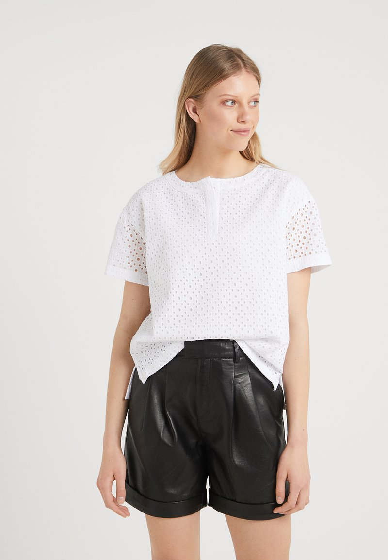 DKNY - EYELET  WITH COLLAR - Bluse - white