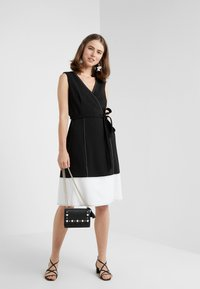 DKNY - V-NECK FAUX WRAP STITCHED A-LINE - Day dress - black/ivory - 1