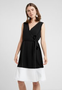 DKNY - V-NECK FAUX WRAP STITCHED A-LINE - Day dress - black/ivory - 0