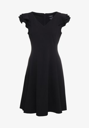 NECK FIT FLARE WITH RUFFLE SLEEVES - Jerseyjurk - black
